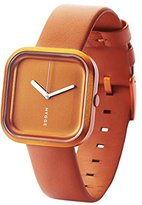 Hygge Vari Unisex Quartz Watch with Orange Dial Analogue Display and Orange Leather Strap HE-02-074-02