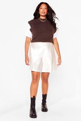 Nasty Gal Womens Sleek Me Close Plus Satin Mini Skirt - Cream