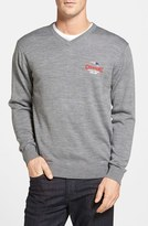 Cutter & Buck Men's 'Douglas - New England Patriots Sb Champs' Merino Wool Blend V-Neck Sweater