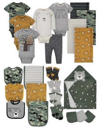 Gerber Baby Boy Organic Newborn Clothes Essentials Shower Gift Set, 24-Piece