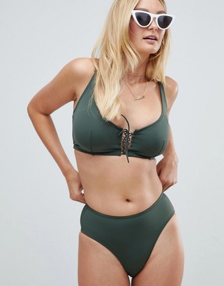 Pour Moi? Pour Moi lace up high waist bikini bottom in khaki-Green