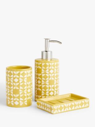 John Lewis & Partners Geo Bathroom Accessories Set, Yellow