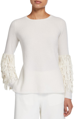 Neiman Marcus Cashmere Sweater with Suede Fringe Cuffs