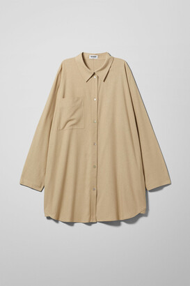 Weekday Tate Silk Shirt - Beige