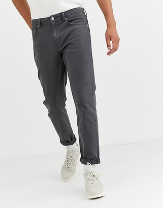 Asos DESIGN rigid tapered jeans in flat dark gray with contrast stitch