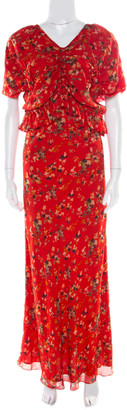 Christian Dior Red Printed Gathered Ruffle Detail Maxi Dress S