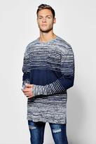 Boohoo Mens Space Dye Stripe Jumper With Pocket