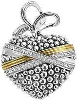Lagos 18K Gold and Sterling Silver Caviar Bead Heart Charm Pendant with Diamonds