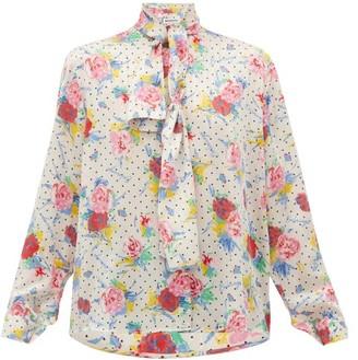 Balenciaga Pussy-bow Floral-print Silk-crepe Blouse - Cream Multi