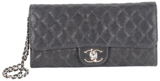 Chanel Metallic Black Quilted Fabric Chain Shoulder Bag