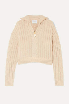 Nanushka Eria Cropped Faux Pearl-embellished Cable-knit Sweater - Beige
