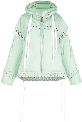 KHRISJOY Contrast Lace-Up Puffer Jacket