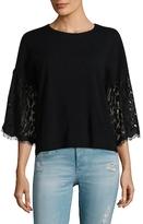 Autumn Cashmere Cashmere Lace Sleeve Boxy Crop Top