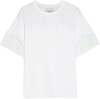 3.1 Phillip Lim Lace-trimmed Paneled Cotton-jersey T-shirt