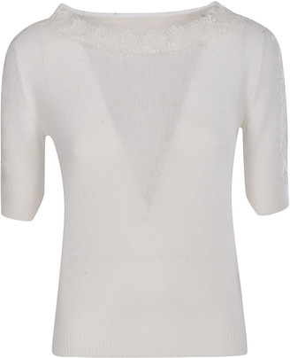 Ermanno Scervino Laced Collar Ribbed Knit Jumper
