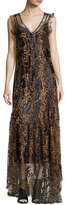Opening Ceremony Sleeveless Enamel Glitter Maxi Dress, Copper