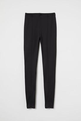 H&M Crease-front Leggings - Black