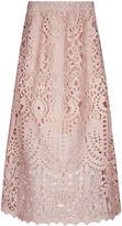 Perseverance London Dusty Pink Guipere Lace Midi Skirt
