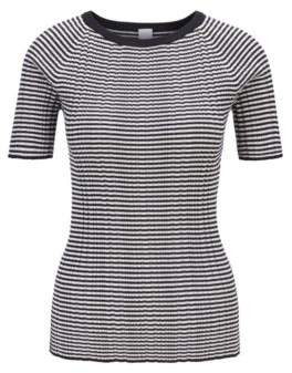 BOSS Short-sleeved knitted top in striped cotton with silk