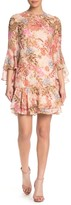 Eliza J Floral Bell Sleeve Ruffled Chiffon Shift Dress