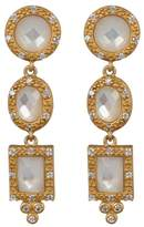 Freida Rothman 14K Gold Vermeil Pave CZ Mother of Pearl Drop Earrings