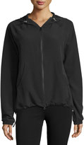 Yummie Tummie Mesh-Lined Drawstring Jacket, Black