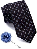 Ben Sherman Anchor Tie & Floral Lapel Pin Box Set