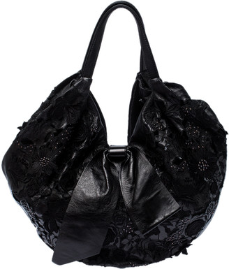 Valentino Black Lace/Beads and Leather Hobo