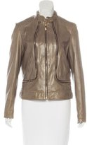 Vince Camuto Leather Zip-Accented Jacket