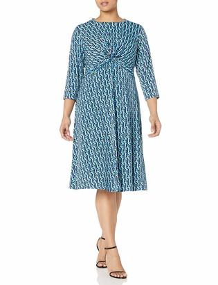 Donna Morgan Women's Plus Size 3/4 Sleeve Knot Fron Stretch Knit Jersey Midi Dress