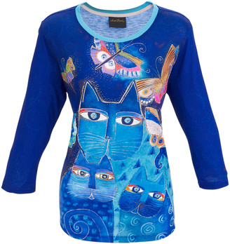 Laurèl Burch Women's Tee Shirts MULTI - Indigo Cats Three-Quarter Sleeve Top - Women