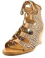 Dolce Vita Lamont Women Open Toe Leather Tan Wedge Sandal.