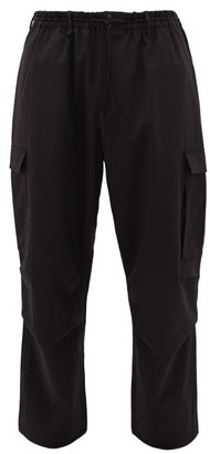 Y-3 Cargo-pocket Wool-blend Trousers - Mens - Black