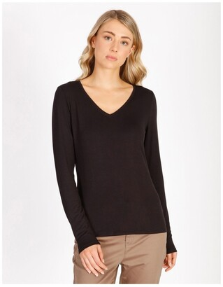 Basque Long Sleeve V-Neck Jersey Top