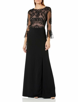 Adrianna Papell Women's Ruffle Sleeve Long Beaded Gown with Nude Illusion