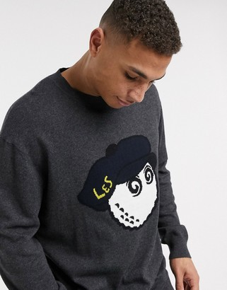 Lyle & Scott X Malbon Golf knitted jumper with collab chest logo in grey