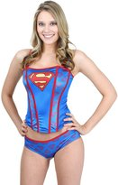 Undergirl womens Superman Printed Corset And Panty Set