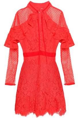 Perseverance Paneled Velvet-trimmed Guipure Lace Mini Dress