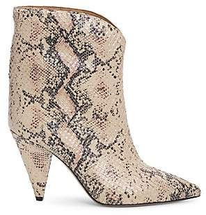 Isabel Marant Women's Leinee Snakeskin-Embossed Leather Ankle Boots