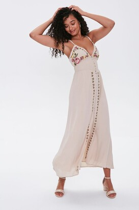 Forever 21 Floral Embroidered Maxi Dress
