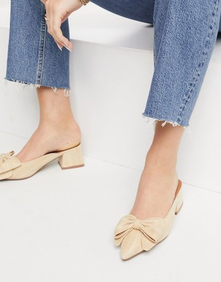 ASOS DESIGN Summer bow mid heeled mules in natural