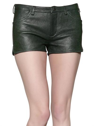 American Retro Leather Mini Shorts