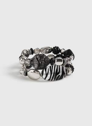 Dorothy Perkins Womens 2 Pack Multi Colour Zebra Print Bead Bracelets