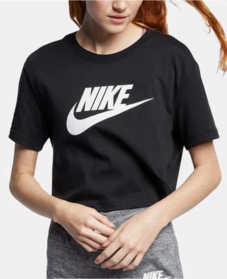 Nike Women Sportswear Cotton Logo Cropped T-Shirt