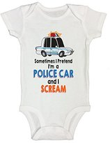 """Little Royaltee Shirts Cute Kids Onesie """"I'm a Police Car and I Scream"""" Funny Saying Shirts - Little Royaltee 0-3 Months"""