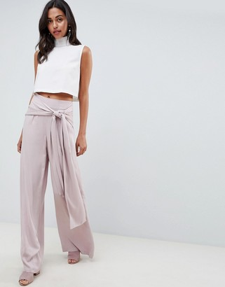 Asos Design DESIGN Occasion Oversized Tie Front Wide Leg Pants-Pink