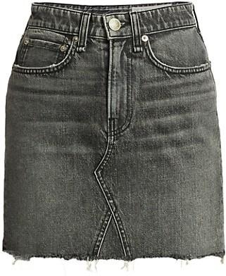 Rag & Bone Itty Bitty Frayed Hem Denim Mini Skirt
