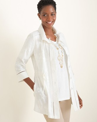 Chico's Chicos Embroidered Linen Utility Jacket