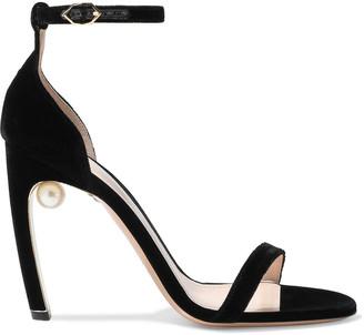 Nicholas Kirkwood Maeva 105 Faux Pearl-embellished Velvet Sandals