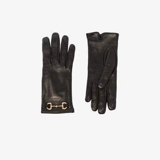 Gucci black Horsebit leather gloves